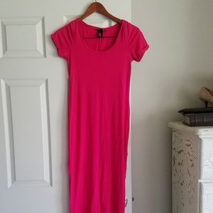 H&M XS Bright Pink Maxi Dress Side Slits